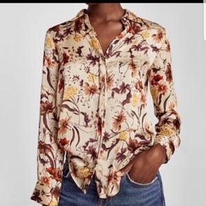 Zara Brown Floral Crinkle Blouse